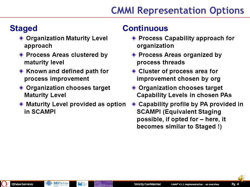 QValue Services Strictly Confidential CMMI ® V1.3 Implementation – an overview Pg 4 CMMI Representation Options Staged Organization Maturity Level approach Process Areas clustered by maturity level Known and defined path for process improvement Organization chooses target Maturity Level Maturity Level provided as option in SCAMPI Continuous Process Capability approach for organization Process Areas organized by process threads Cluster of process area for improvement chosen by org Organization chooses target Capability Levels in chosen PAs Capability profile by PA provided in SCAMPI (Equivalent Staging possible, if opted for – here, it becomes similar to Staged !)