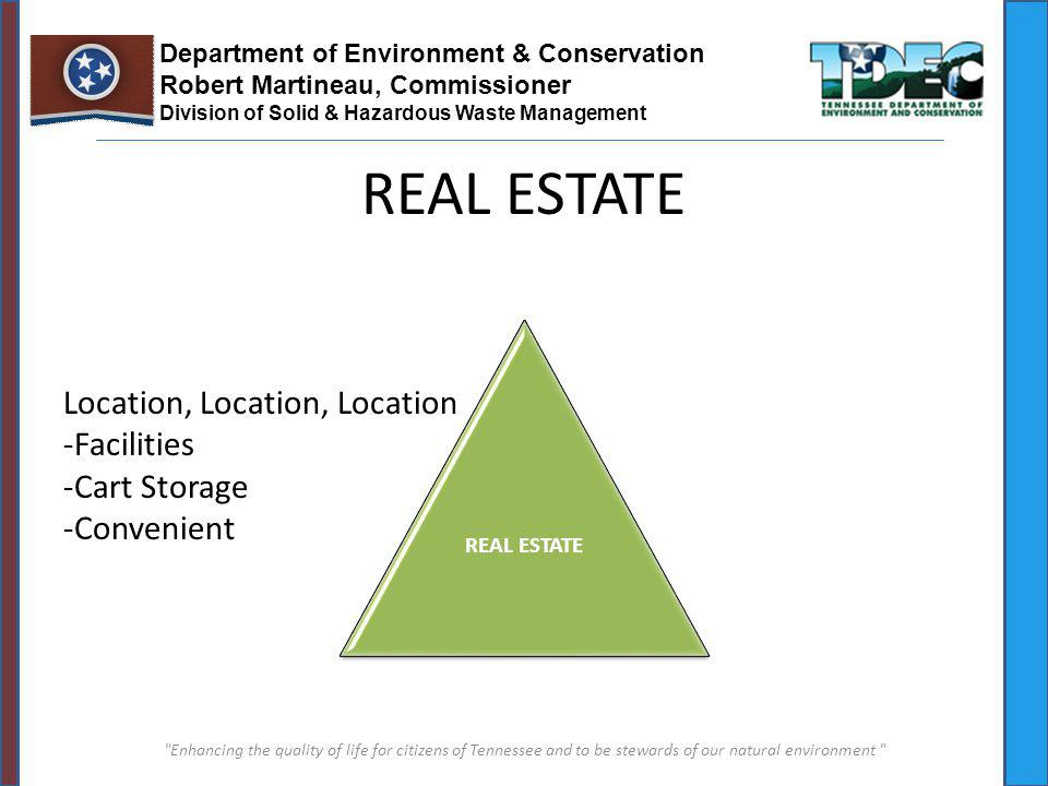 Enhancing the quality of life for citizens of Tennessee and to be stewards of our natural environment Department of Environment & Conservation Robert Martineau, Commissioner Division of Solid & Hazardous Waste Management REAL ESTATE Location, Location, Location -Facilities -Cart Storage -Convenient REAL ESTATE