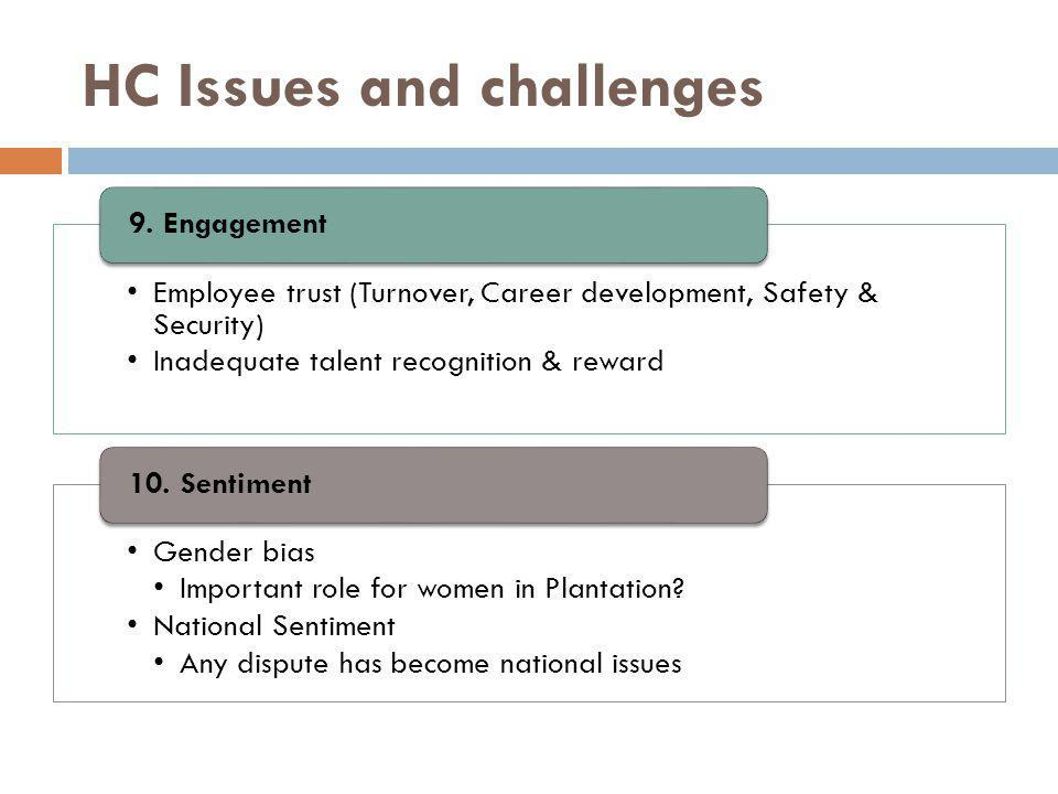 HC Issues and challenges Employee trust (Turnover, Career development, Safety & Security) Inadequate talent recognition & reward 9. Engagement Gender