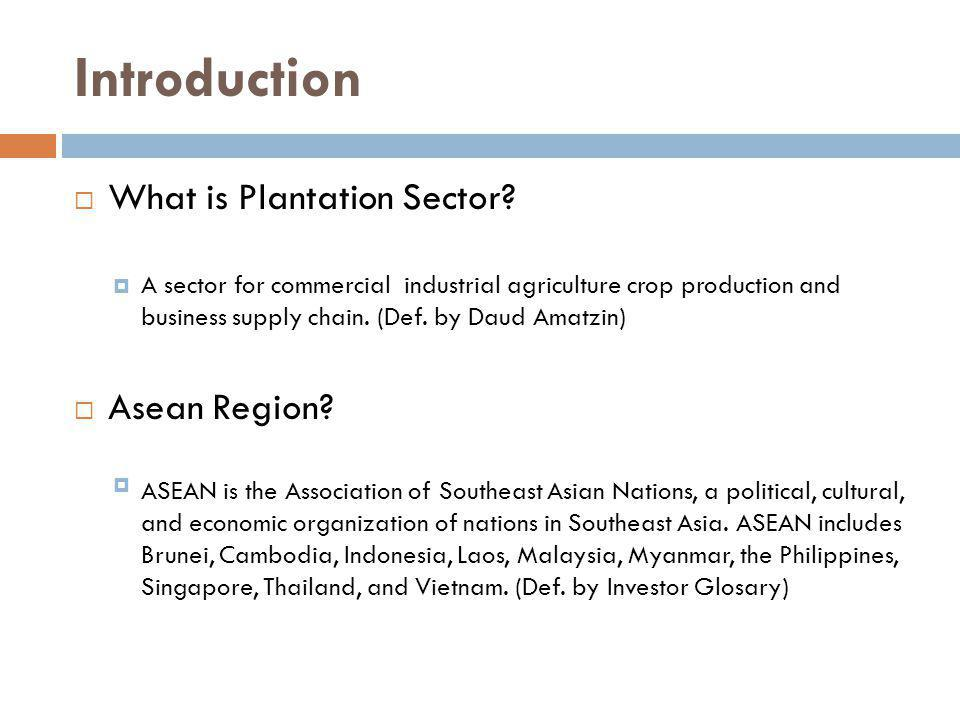Introduction What is Plantation Sector? A sector for commercial industrial agriculture crop production and business supply chain. (Def. by Daud Amatzi