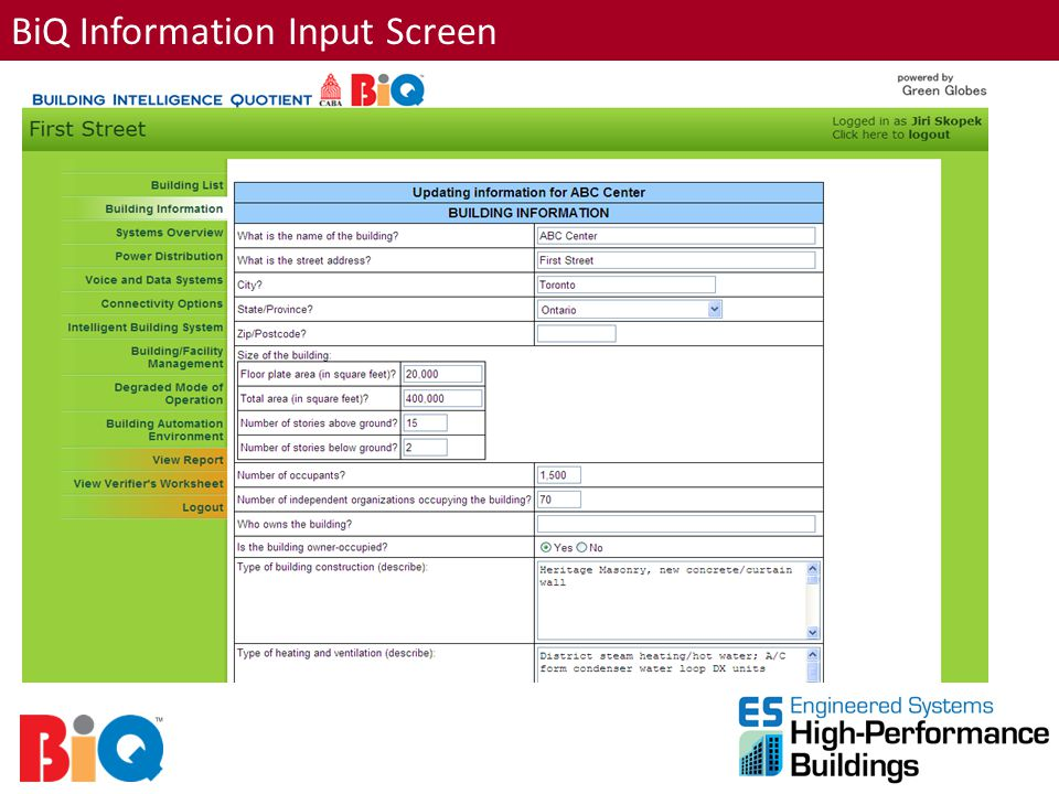 BiQ Information Input Screen