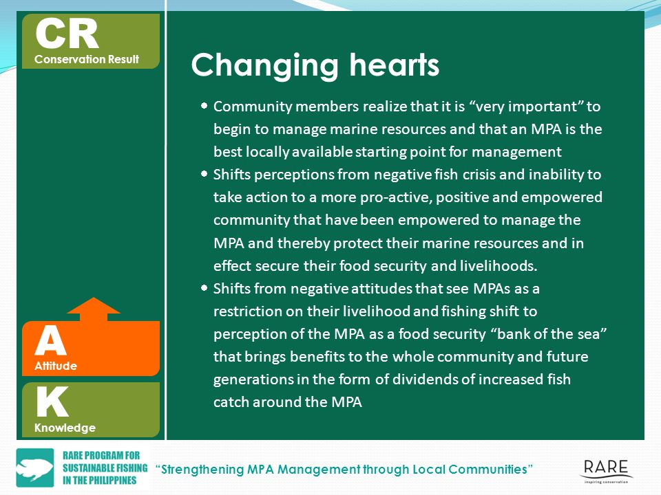 A Attitude Changing hearts Community members realize that it is very important to begin to manage marine resources and that an MPA is the best locally available starting point for management Shifts perceptions from negative fish crisis and inability to take action to a more pro-active, positive and empowered community that have been empowered to manage the MPA and thereby protect their marine resources and in effect secure their food security and livelihoods.