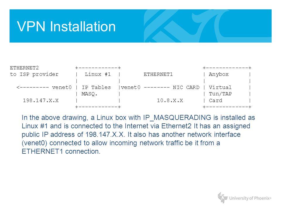 VPN Installation ETHERNET2 +------------+ +-------------+ to ISP provider   Linux #1   ETHERNET1   Anybox           <--------- venet0   IP Tables  venet0 -------- NIC CARD   Virtual     MASQ.