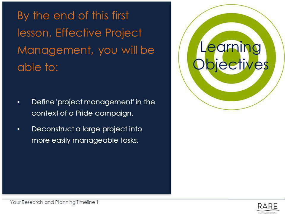 Your Research and Planning Timeline 1 How to Manage Expectations and Having Fun