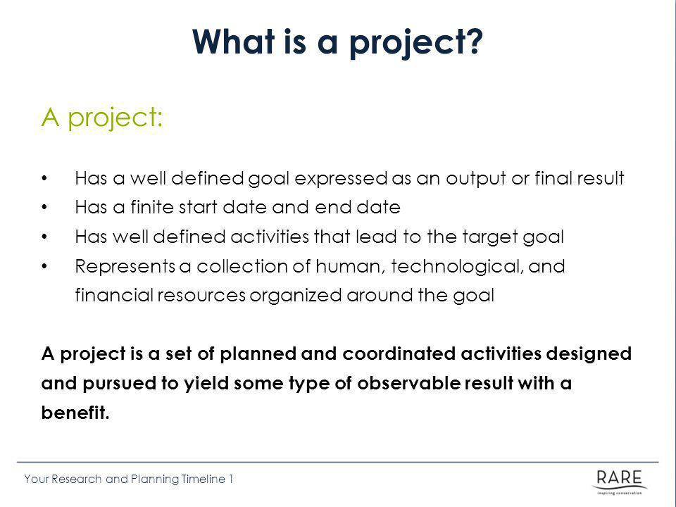Your Research and Planning Timeline 1 Introduction to Project Management