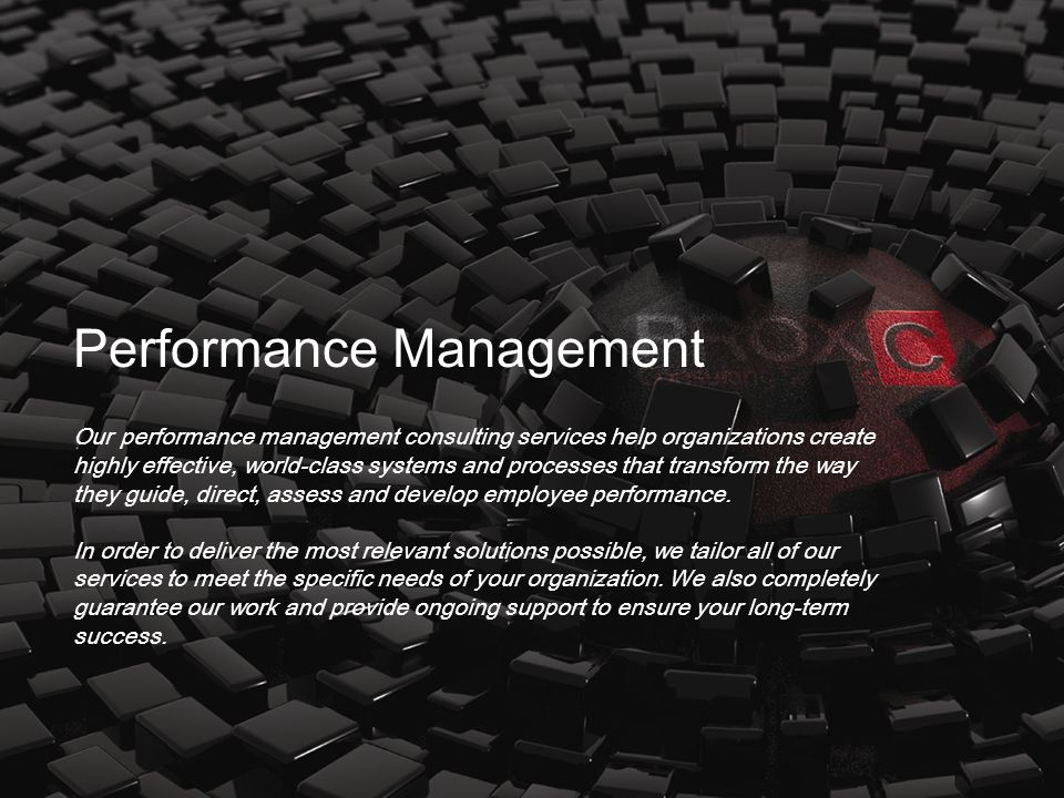 Our performance management consulting services help organizations create highly effective, world-class systems and processes that transform the way th