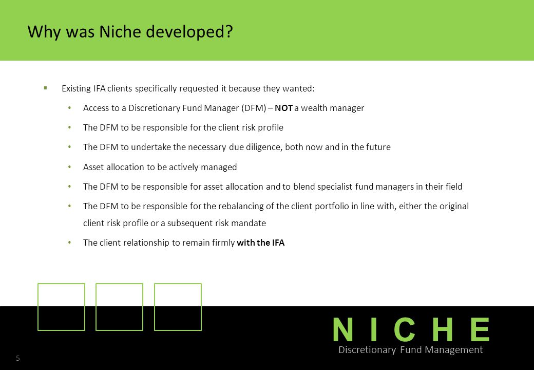 NICHE Discretionary Fund Management 5 Why was Niche developed.