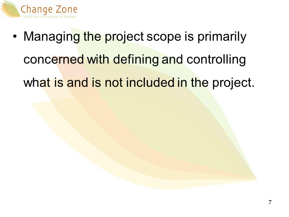 WH Why: the process of defining the scope is the base of succeeding in defining it What: develop a clear workflow to in order to capture the scope successfully When: initiation and planning phase Results: SOPs (standard operating procedures) Who: project management and quality team 8