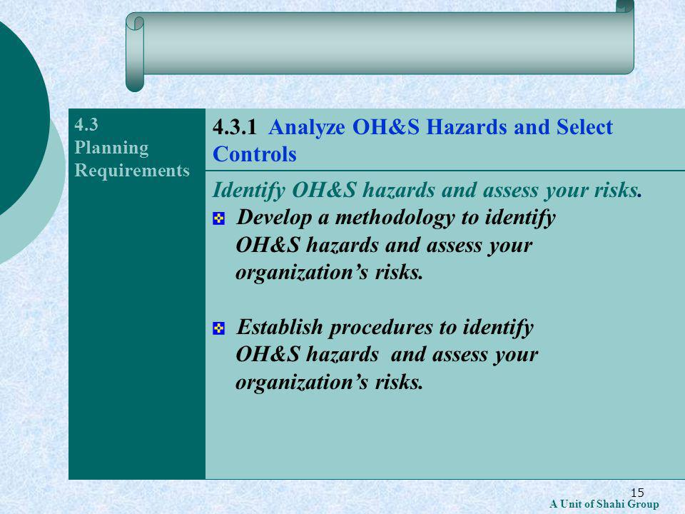15 A Unit of Shahi Group 4.3 Planning Requirements Identify OH&S hazards and assess your risks.