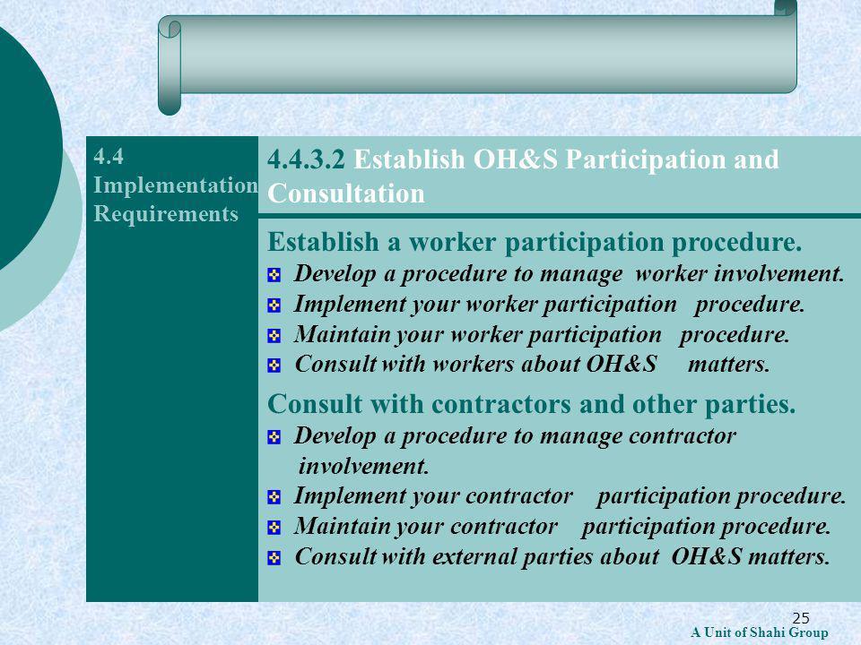 25 A Unit of Shahi Group 4.4 Implementation Requirements Establish a worker participation procedure.