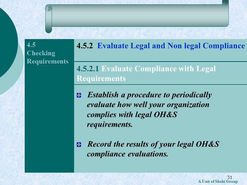 31 A Unit of Shahi Group 4.5 Checking Requirements Establish a procedure to periodically evaluate how well your organization complies with legal OH&S requirements.