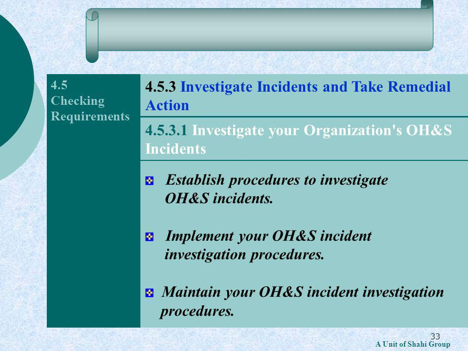 33 A Unit of Shahi Group 4.5 Checking Requirements Establish procedures to investigate OH&S incidents.