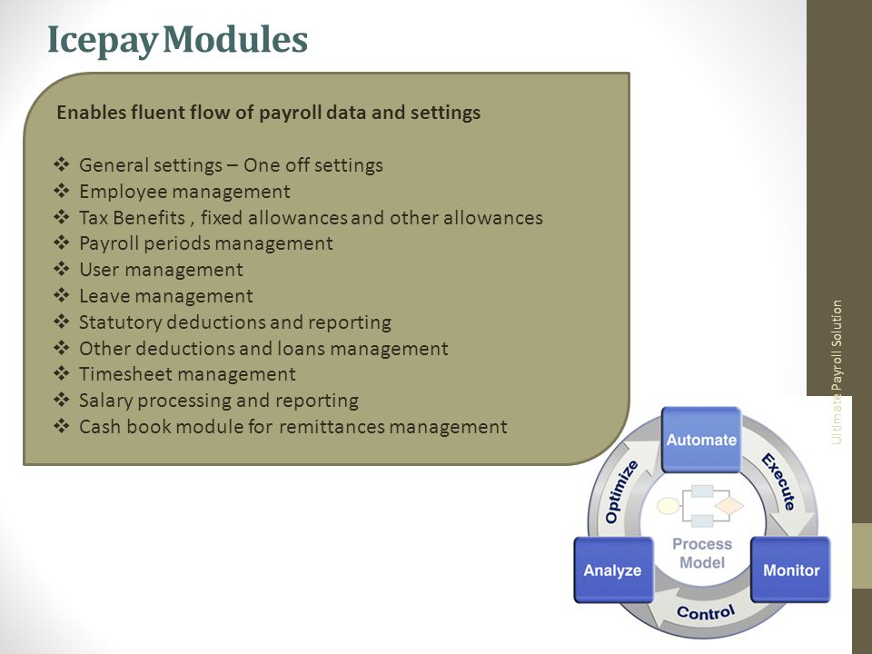 Icepay Modules Ultimate Payroll Solution Enables fluent flow of payroll data and settings General settings – One off settings Employee management Tax Benefits, fixed allowances and other allowances Payroll periods management User management Leave management Statutory deductions and reporting Other deductions and loans management Timesheet management Salary processing and reporting Cash book module for remittances management
