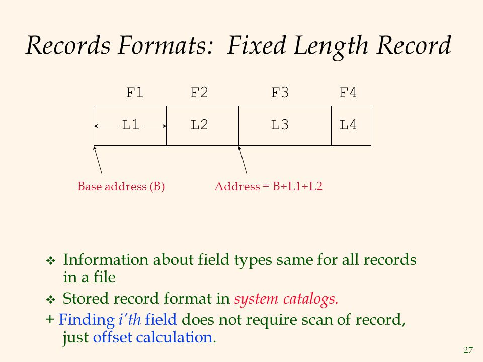 27 Records Formats: Fixed Length Record Information about field types same for all records in a file Stored record format in system catalogs. + Findin