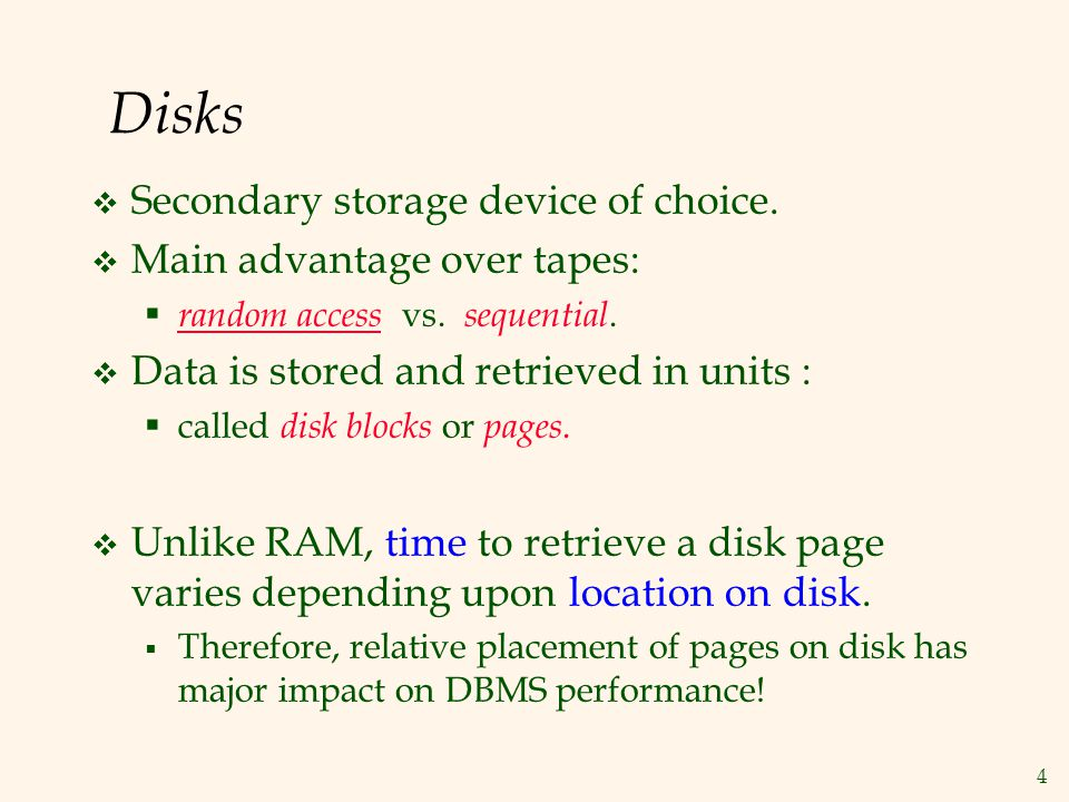 35 More Summary DBMS vs.OS File Support DBMS needs features not found in many OSs.