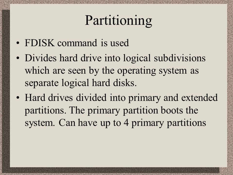 Partitioning Extended can be divided up to 23 times on disk.