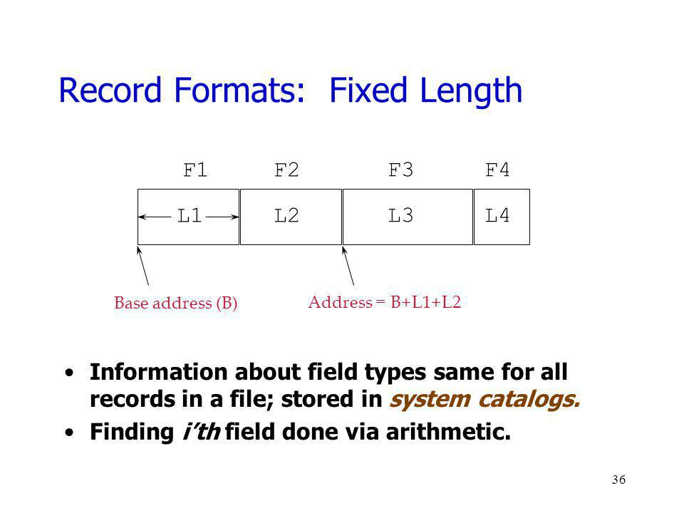 Record Formats: Fixed Length Information about field types same for all records in a file; stored in system catalogs. Finding ith field done via arith
