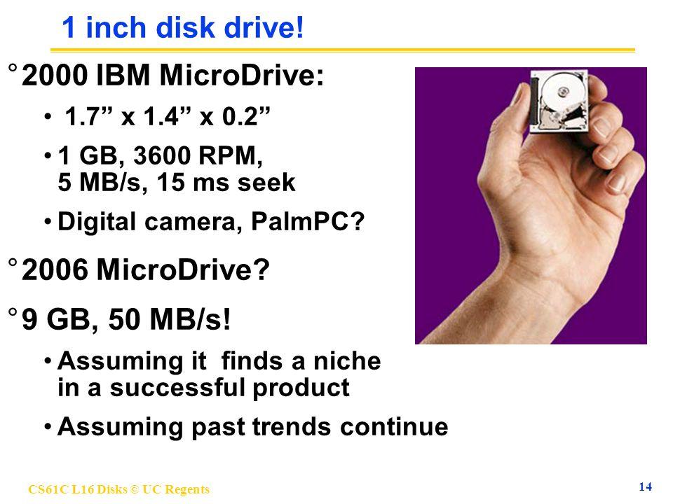 CS61C L16 Disks © UC Regents 14 1 inch disk drive.