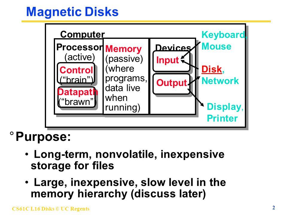 CS61C L16 Disks © UC Regents 3 Photo of Disk Head, Arm, Actuator Actuator Arm Head Platters (12) { Spindle