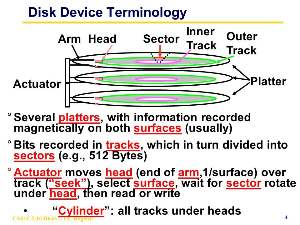 CS61C L16 Disks © UC Regents 4 Disk Device Terminology °Several platters, with information recorded magnetically on both surfaces (usually) °Actuator moves head (end of arm,1/surface) over track (seek), select surface, wait for sector rotate under head, then read or write Cylinder: all tracks under heads °Bits recorded in tracks, which in turn divided into sectors (e.g., 512 Bytes) Platter Outer Track Inner Track Sector Actuator HeadArm
