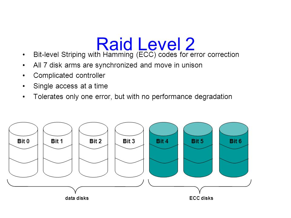 Raid Level 3 Use a parity disk –Each bit on the parity disk is a parity function of the corresponding bits on all the other disks A read accesses all the data disks A write accesses all data disks plus the parity disk On disk failure, read remaining disks plus parity disk to compute the missing data data disks Parity disk Bit 0Bit 3Bit 1Bit 2Parity Single parity disk can be used to detect and correct errors