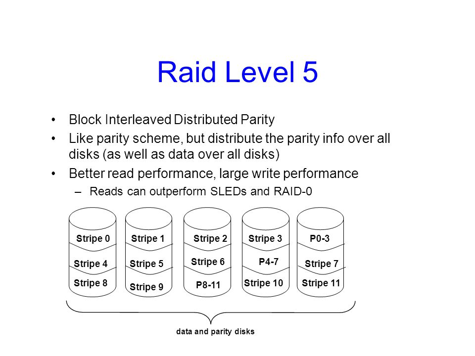 Raid Level 6 Level 5 with an extra parity bit Can tolerate two failures –What are the odds of having two concurrent failures .