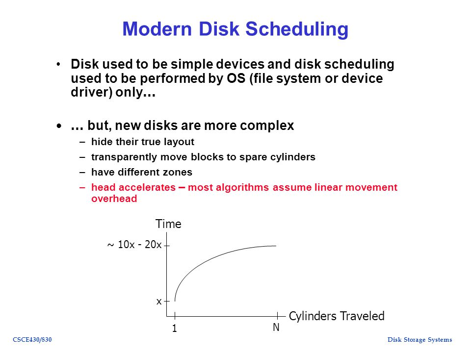 Disk Storage SystemsCSCE430/830 Modern Disk Scheduling Disk used to be simple devices and disk scheduling used to be performed by OS (file system or device driver) only … … but, new disks are more complex –hide their true layout –transparently move blocks to spare cylinders –have different zones –head accelerates – most algorithms assume linear movement overhead ~ 10x - 20x x 1 N Cylinders Traveled Time
