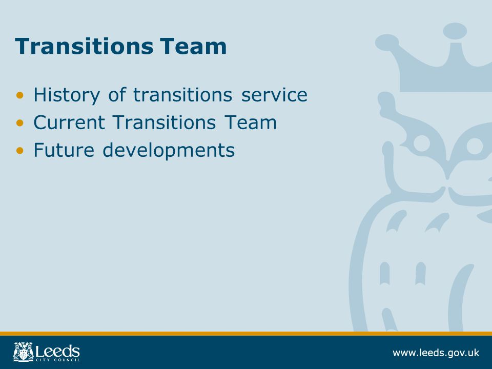 Transitions Team History of transitions service Current Transitions Team Future developments