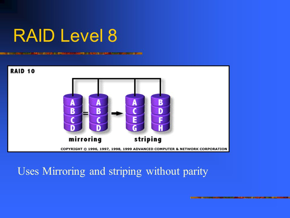 RAID Level 8 Uses Mirroring and striping without parity