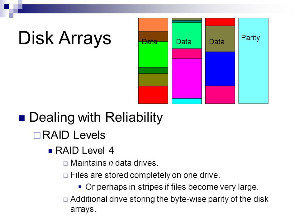 Disk Arrays Dealing with Reliability RAID Levels RAID Level 4 Maintains n data drives. Files are stored completely on one drive. Or perhaps in stripes
