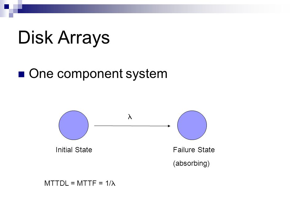 Disk Arrays One component system Failure State (absorbing) Initial State MTTDL = MTTF = 1/