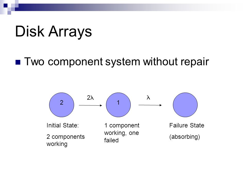 Disk Arrays Two component system without repair Failure State (absorbing) Initial State: 2 components working 2 21 1 component working, one failed