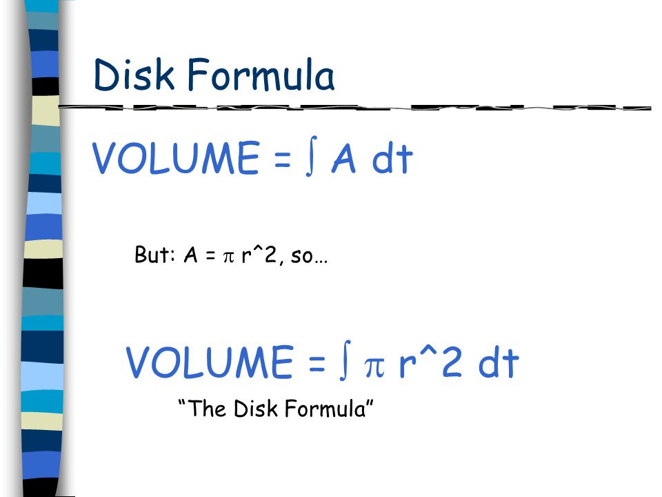 Volume by Disks r } thickness x axis y axisSlice radius x x dy Thus, A = x^2 x = f(y) VOLUME = f(y)^2 dy but x = f(y)and dt = dy, so...