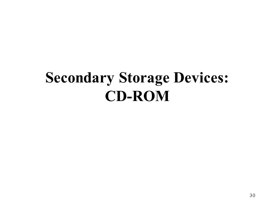 30 Secondary Storage Devices: CD-ROM