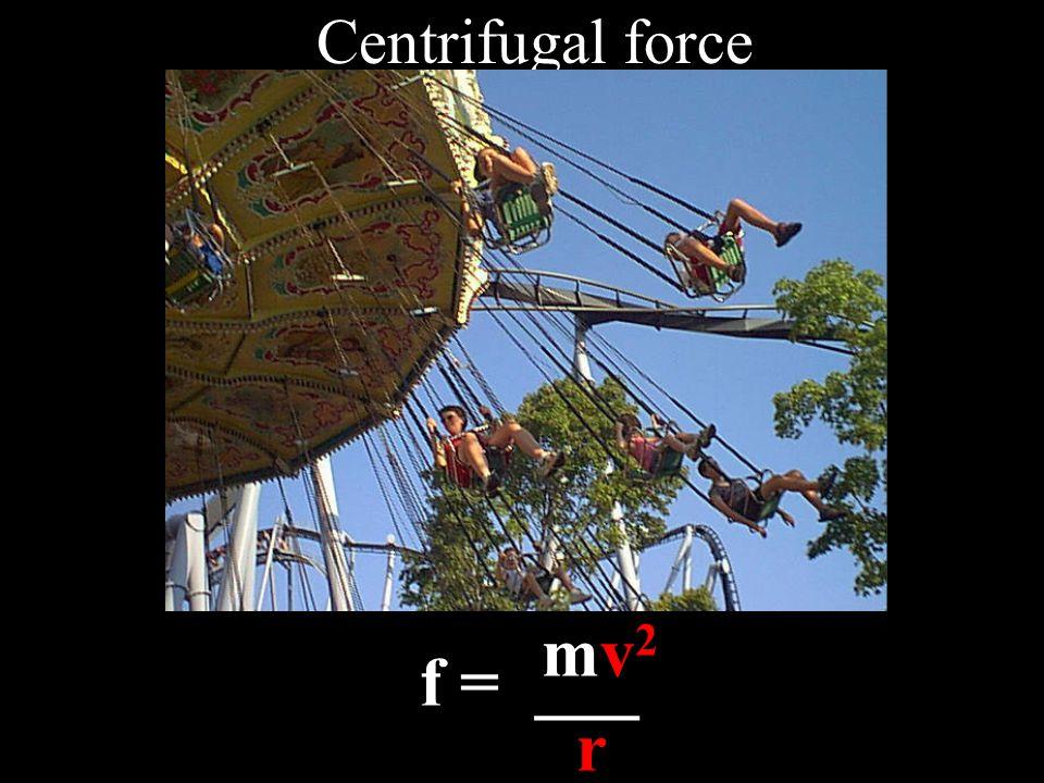 Centrifugal force mv 2 f = ___ r