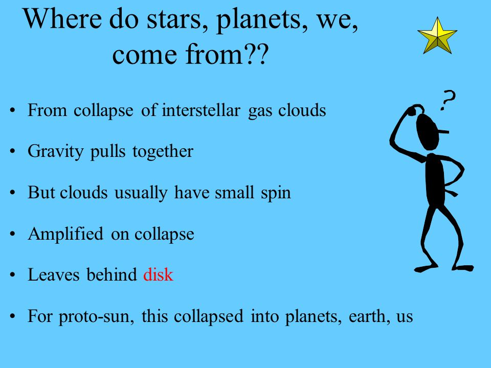 Where do stars, planets, we, come from .