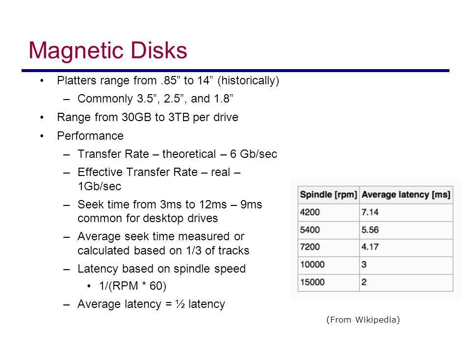 Magnetic Disk Performance Access Latency = Average access time = average seek time + average latency –For fastest disk 3ms + 2ms = 5ms –For slow disk 9ms + 5.56ms = 14.56ms Average I/O time = average access time + (amount to transfer / transfer rate) + controller overhead For example to transfer a 4KB block on a 7200 RPM disk with a 5ms average seek time, 1Gb/sec transfer rate with a.1ms controller overhead = –5ms + 4.17ms + 4KB / 1Gb/sec + 0.1ms = –9.27ms + 4 / 131072 sec = –9.27ms +.12ms = 9.39ms