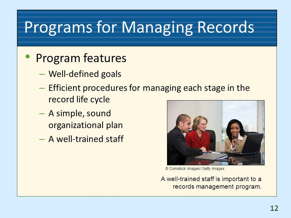 Programs for Managing Records Program features – Well-defined goals – Efficient procedures for managing each stage in the record life cycle – A simple