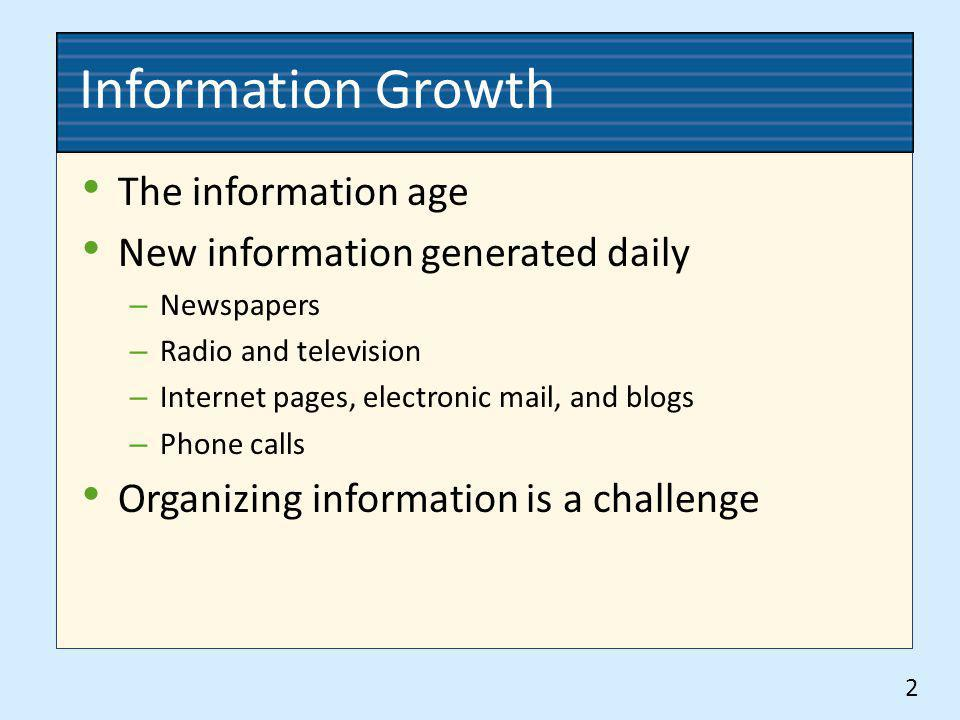 Information Growth The information age New information generated daily – Newspapers – Radio and television – Internet pages, electronic mail, and blog