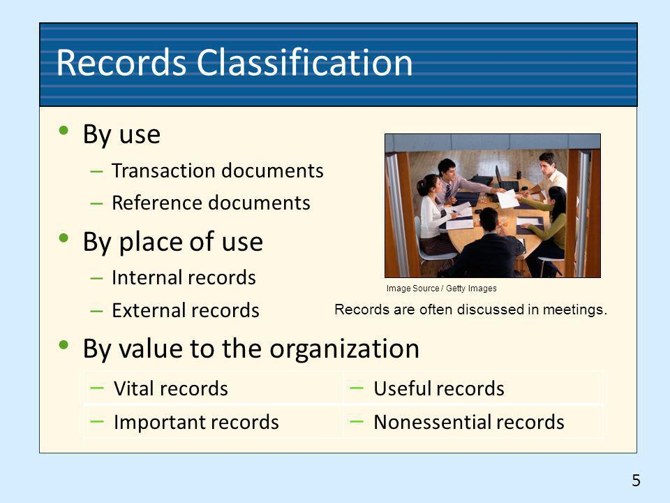 Records Classification By use – Transaction documents – Reference documents By place of use – Internal records – External records By value to the orga