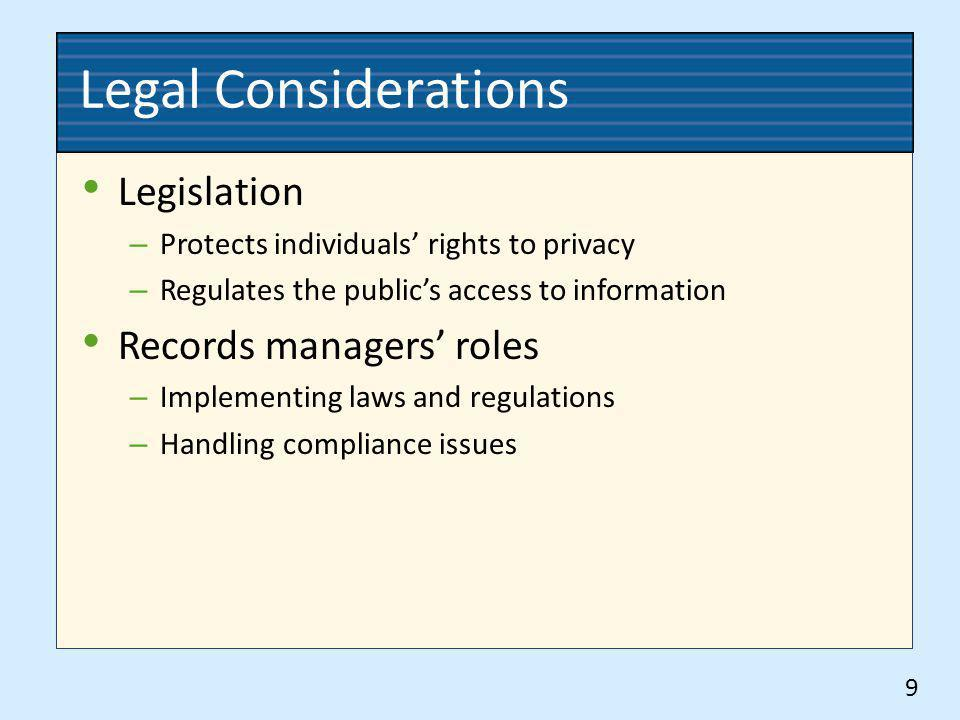 Legal Considerations Legislation – Protects individuals rights to privacy – Regulates the publics access to information Records managers roles – Imple