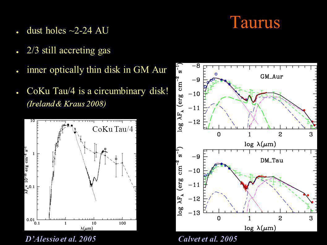 Taurus dust holes ~2-24 AU 2/3 still accreting gas inner optically thin disk in GM Aur CoKu Tau/4 is a circumbinary disk.