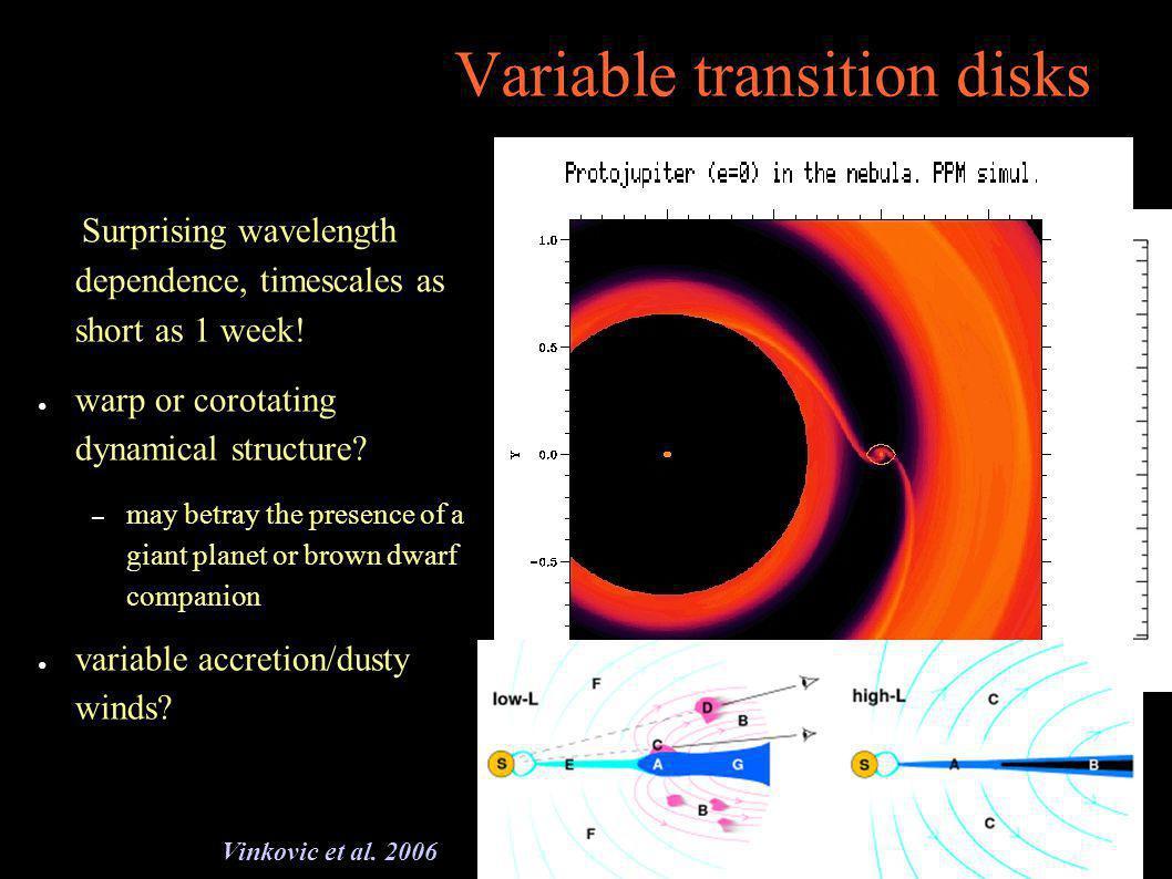 Variable transition disks Surprising wavelength dependence, timescales as short as 1 week.