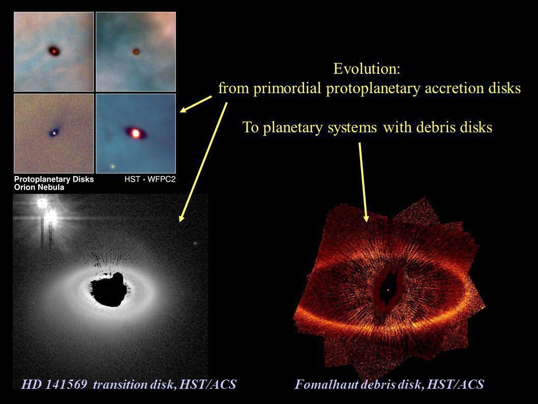 Evolution: from primordial protoplanetary accretion disks To planetary systems with debris disks Fomalhaut debris disk, HST/ACS HD 141569 transition disk, HST/ACS