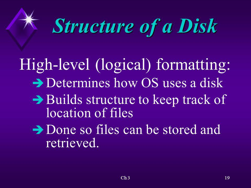 Ch 320 Structure of a Disk Windows XP Professional monitors status of all disk data sectors.