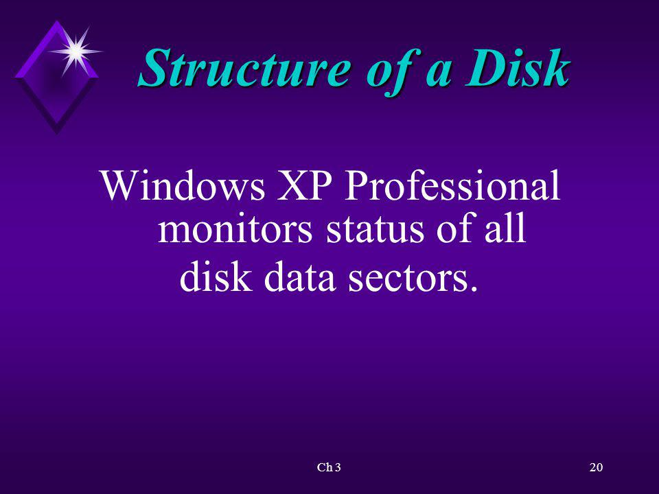 Ch 321 Structure of a Disk One or more sectors are combined into logical units called clusters or allocation units.