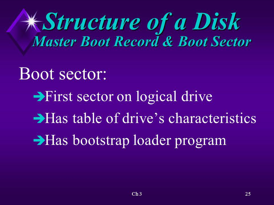 Ch 326 Structure of a Disk Master Boot Record & Boot Sector All disks ( including non-system disks ) have a boot sector.