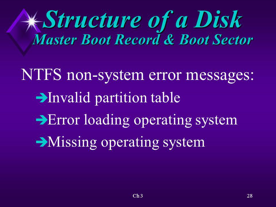 Ch 329 Structure of a Disk Master Boot Record & Boot Sector Floppy disk non-system error messages: è NTLDR is missing è Press any key to restart