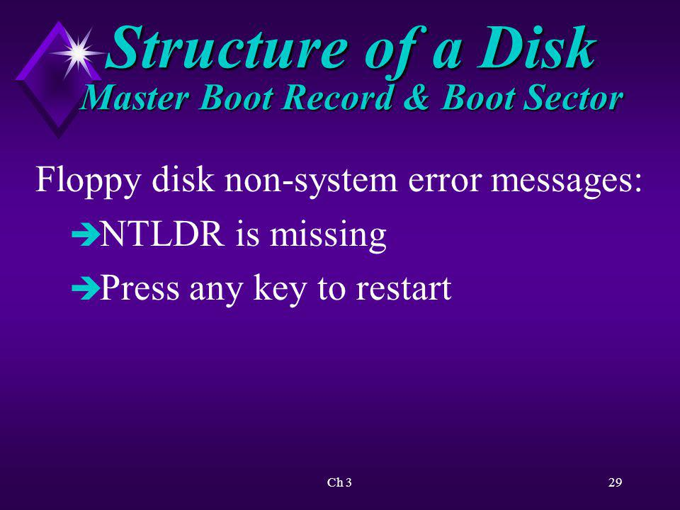 Ch 330 Structure of a Disk Master Boot Record & Boot Sector Windows uses boot sector to identify the type of disk.