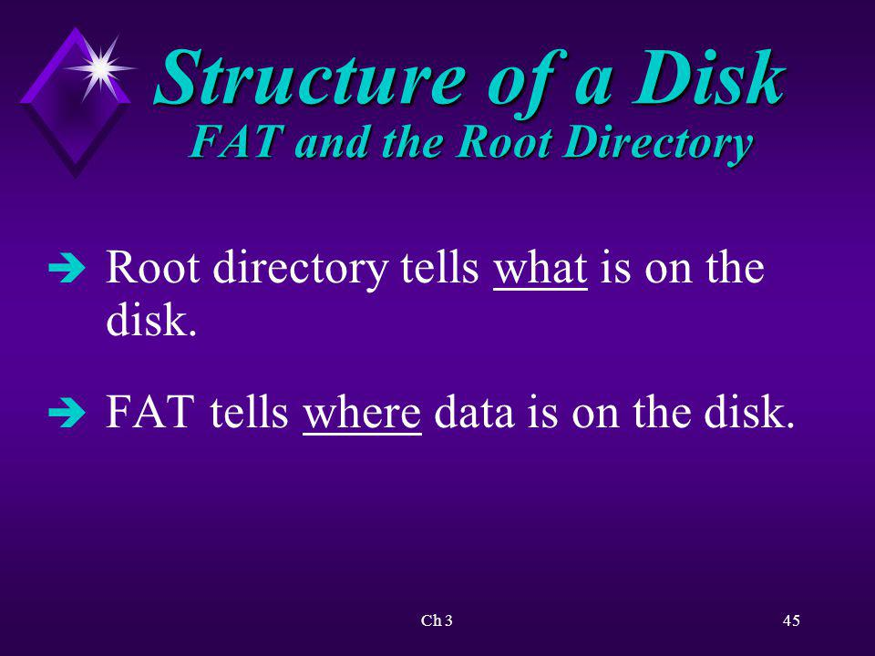 Ch 346 Structure of a Disk FAT and the Root Directory è Number in FAT points to next cluster that holds data in file.